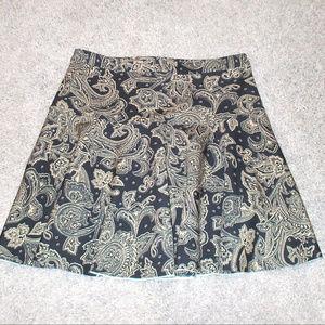 A&F Navy/Tan Paisley Skater Skirt